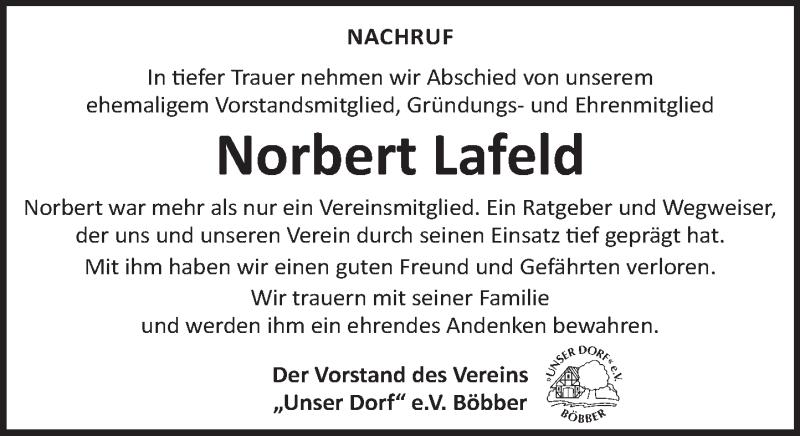 Traueranzeige für Norbert Lafeld vom 09.10.2021 aus Neue Deister-Zeitung