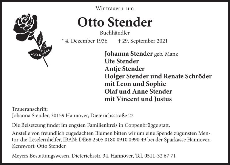 Traueranzeige für Otto Stender vom 13.10.2021 aus Deister- und Weserzeitung