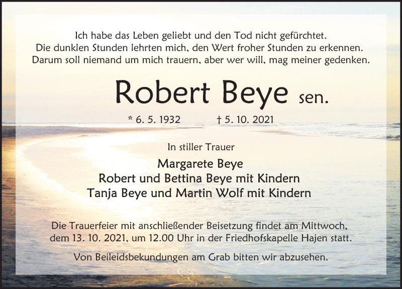 Traueranzeige für Robert Beye vom 09.10.2021 aus Deister- und Weserzeitung
