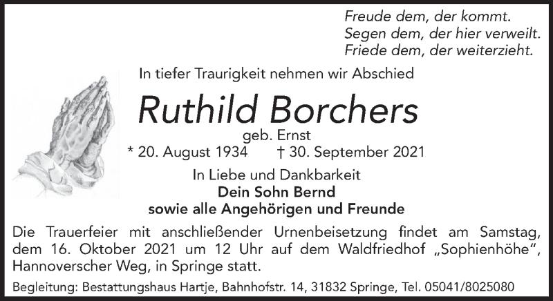 Traueranzeige für Ruthild Borchers vom 09.10.2021 aus Neue Deister-Zeitung