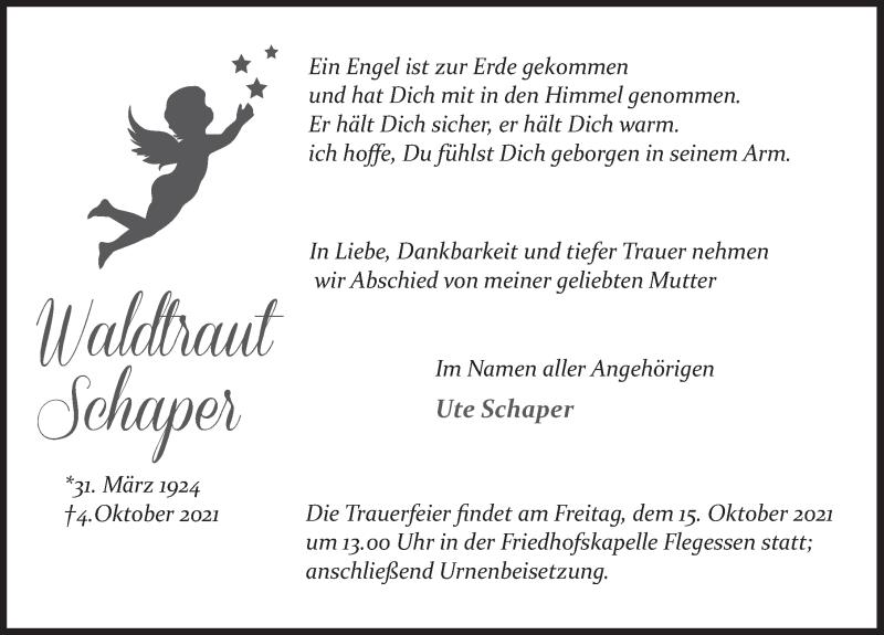 Traueranzeige für Waldtraut Schaper vom 13.10.2021 aus Neue Deister-Zeitung