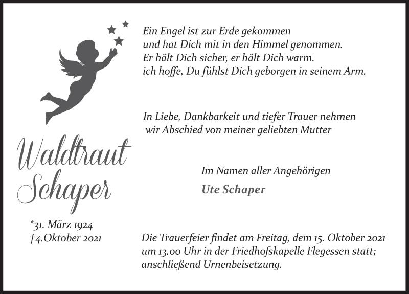 Traueranzeige für Waldtraut Schaper vom 13.10.2021 aus Deister- und Weserzeitung
