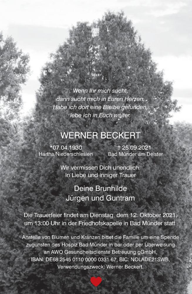 Traueranzeige für Werner Beckert vom 06.10.2021 aus Neue Deister-Zeitung
