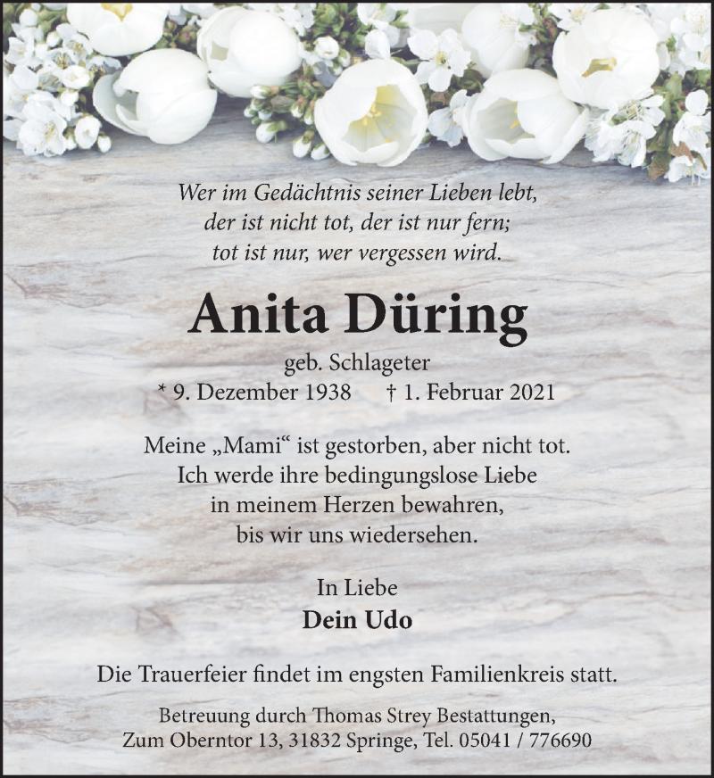 Traueranzeige für Anita Düring vom 13.02.2021 aus Neue Deister-Zeitung