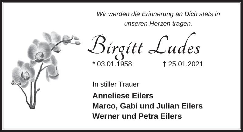 Traueranzeige für Birgitt Ludes vom 06.02.2021 aus Neue Deister-Zeitung