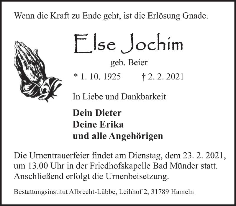 Traueranzeige für Else Jochim vom 20.02.2021 aus Neue Deister-Zeitung