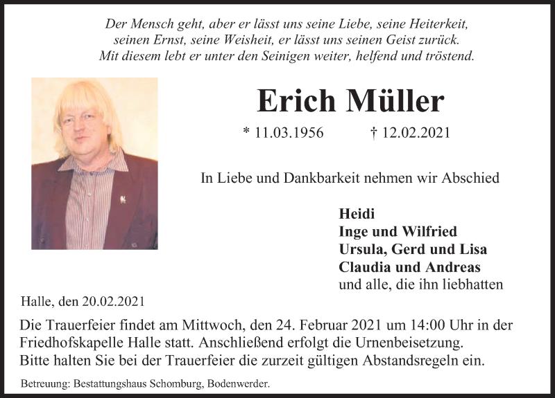 Traueranzeige für Erich Müller vom 20.02.2021 aus Deister- und Weserzeitung