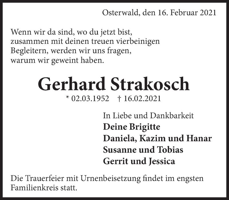 Traueranzeige für Gerhard Strakosch vom 20.02.2021 aus Deister- und Weserzeitung