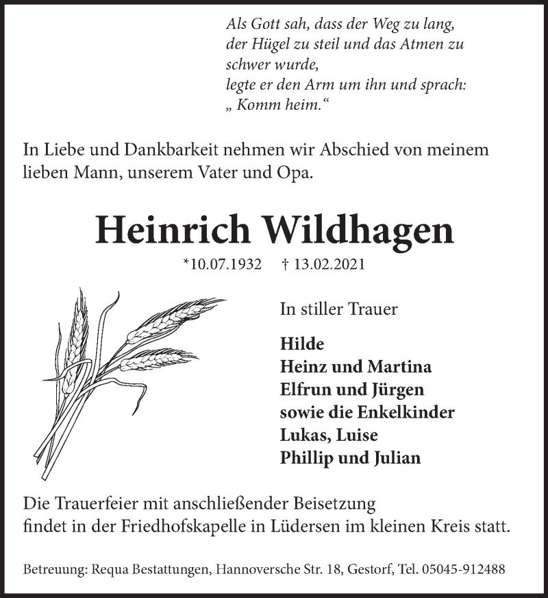 Traueranzeige für Heinrich Wildhagen vom 20.02.2021 aus Neue Deister-Zeitung