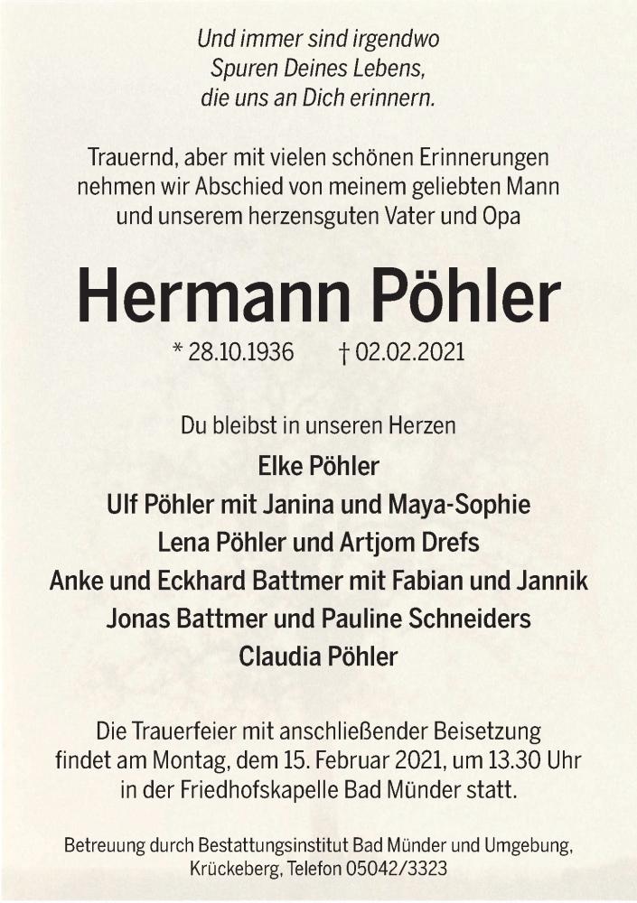 Traueranzeige für Hermann Pöhler vom 06.02.2021 aus Neue Deister-Zeitung