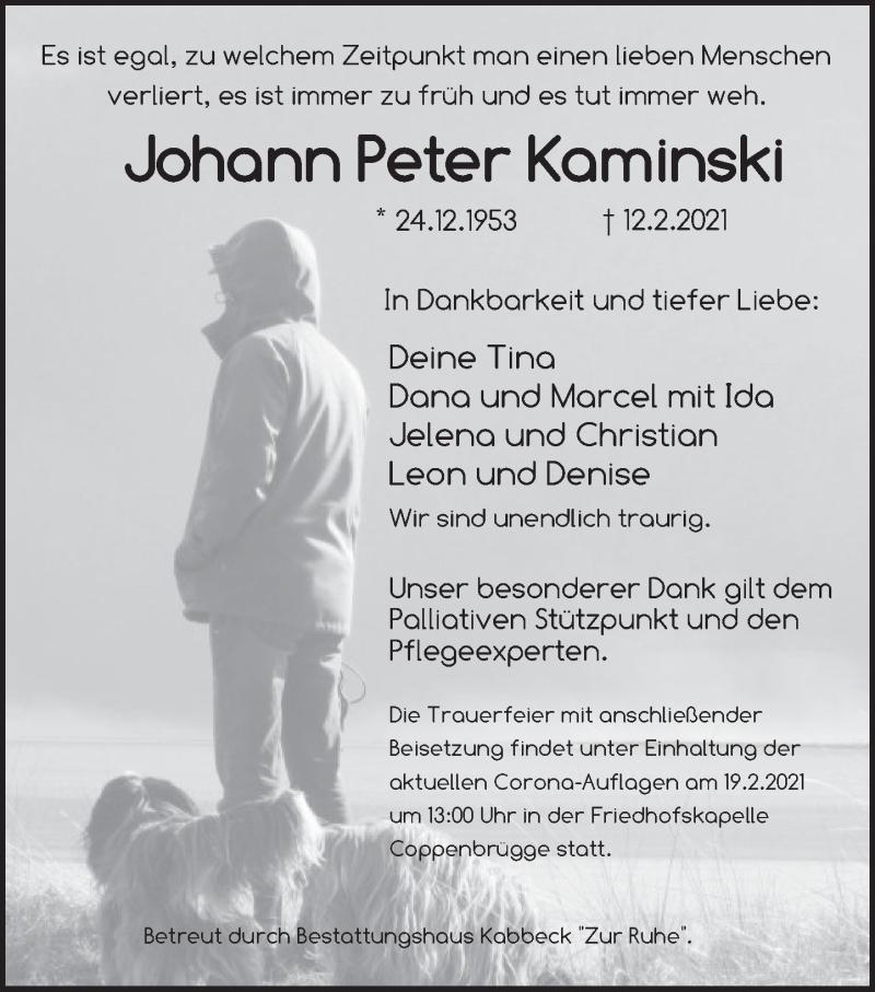 Traueranzeige für Johann Peter Kaminski vom 17.02.2021 aus Deister- und Weserzeitung