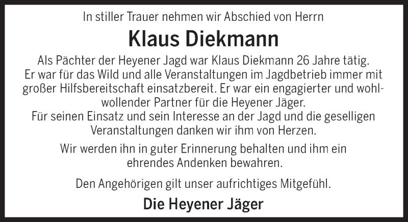 Traueranzeige für Klaus Diekmann vom 17.02.2021 aus Deister- und Weserzeitung