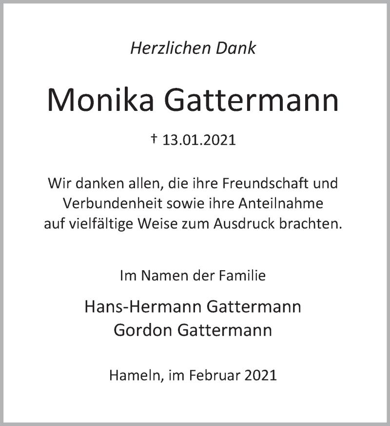 Traueranzeige für Monika Gattermann vom 20.02.2021 aus Deister- und Weserzeitung