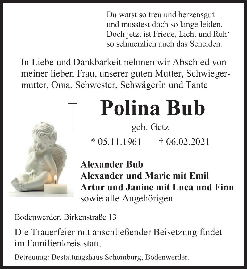 Traueranzeige für Polina Bub vom 13.02.2021 aus Deister- und Weserzeitung