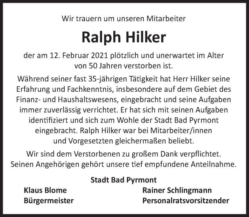 Traueranzeige für Ralph Hilker vom 20.02.2021 aus Deister- und Weserzeitung