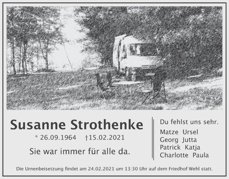 Traueranzeige für Susanne Strothenke vom 20.02.2021 aus Deister- und Weserzeitung