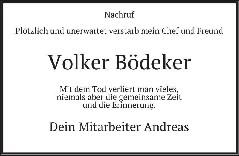 Traueranzeige für Volker Bödeker vom 06.02.2021 aus Deister- und Weserzeitung