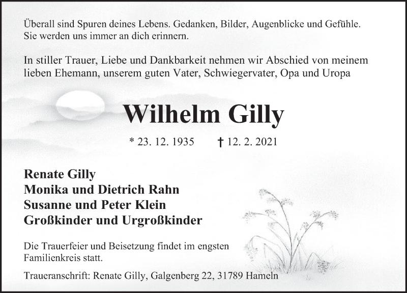 Traueranzeige für Wilhelm Gilly vom 20.02.2021 aus Deister- und Weserzeitung