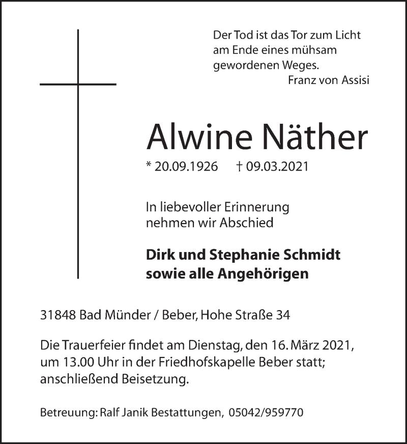 Traueranzeige für Alwine Näther vom 13.03.2021 aus Neue Deister-Zeitung