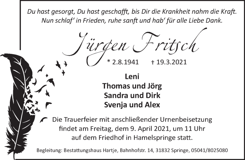 Traueranzeige für Jürgen Fritsch vom 27.03.2021 aus Neue Deister-Zeitung