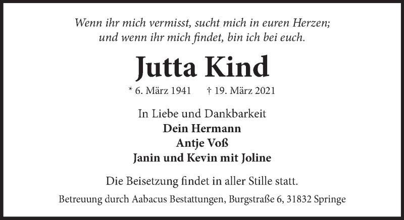 Traueranzeige für Jutta Kind vom 27.03.2021 aus Neue Deister-Zeitung