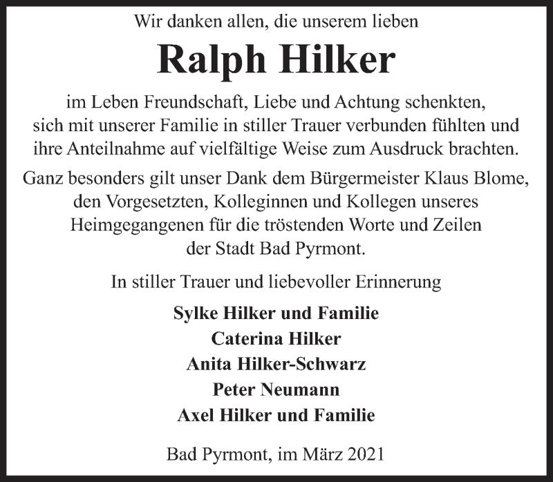 Traueranzeige für Ralph Hilker vom 20.03.2021 aus Deister- und Weserzeitung