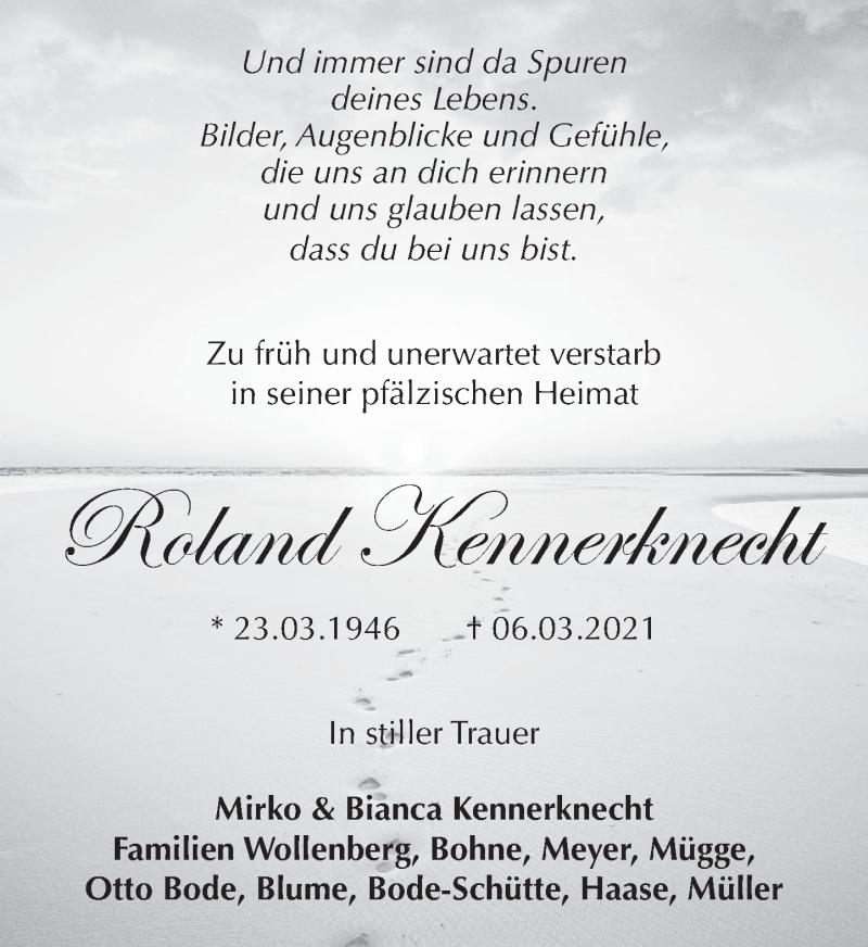 Traueranzeige für Roland Kennerknecht vom 20.03.2021 aus Neue Deister-Zeitung