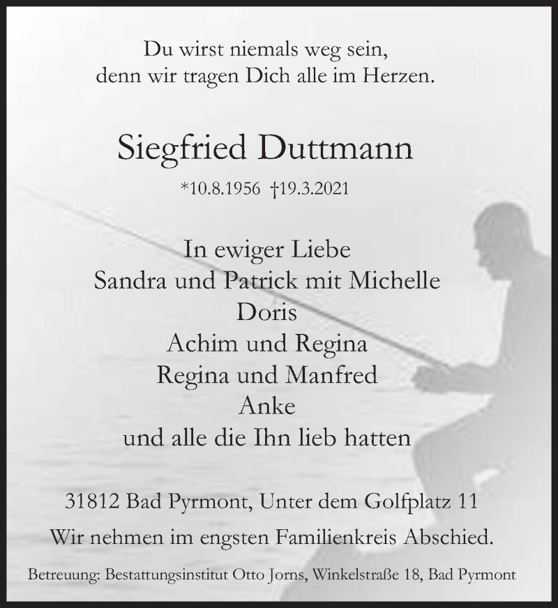 Traueranzeige für Siegfried Duttmann vom 03.04.2021 aus Deister- und Weserzeitung