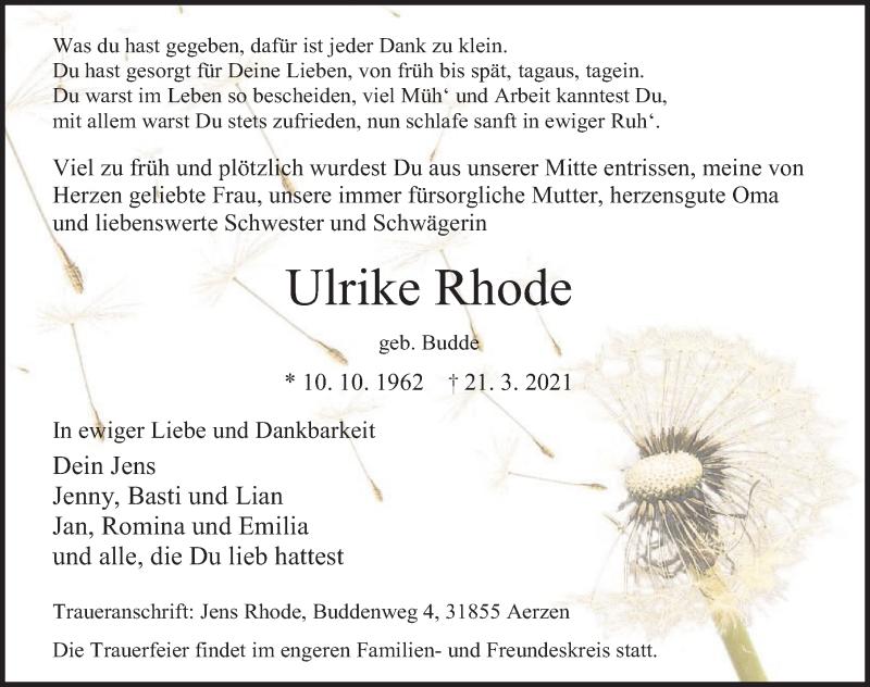 Traueranzeige für Ulrike Rhode vom 27.03.2021 aus Deister- und Weserzeitung