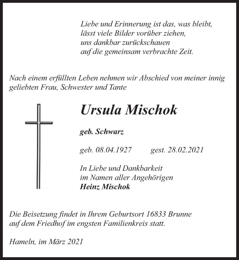 Traueranzeige für Ursula Mischok vom 06.03.2021 aus Deister- und Weserzeitung