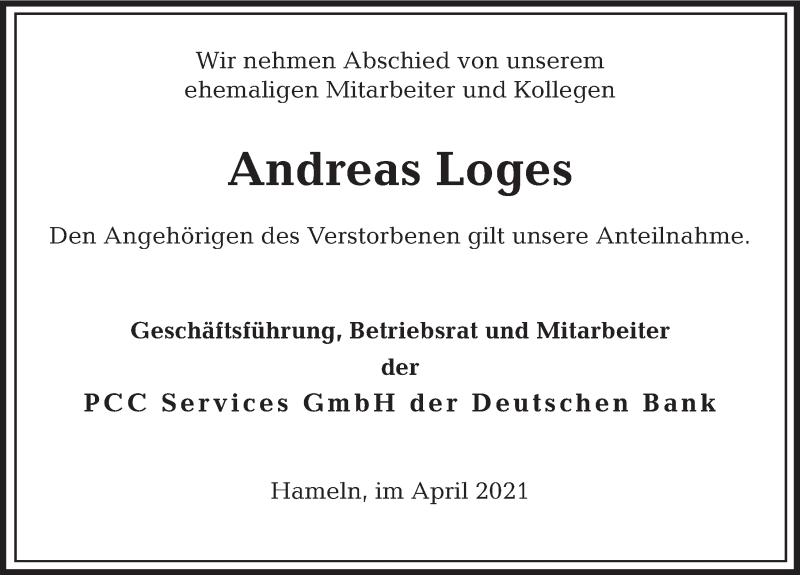 Traueranzeige für Andreas Loges vom 23.04.2021 aus Deister- und Weserzeitung