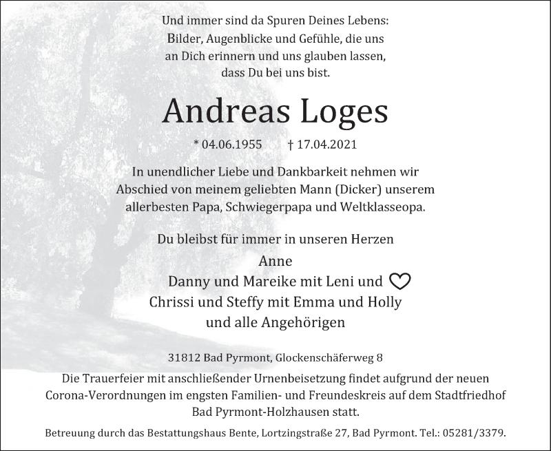 Traueranzeige für Andreas Loges vom 21.04.2021 aus Deister- und Weserzeitung
