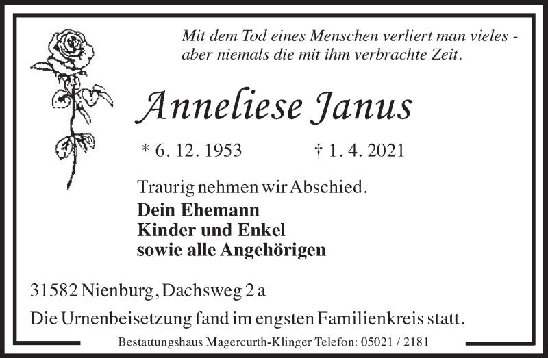 Traueranzeige für Anneliese Janus vom 17.04.2021 aus Neue Deister-Zeitung