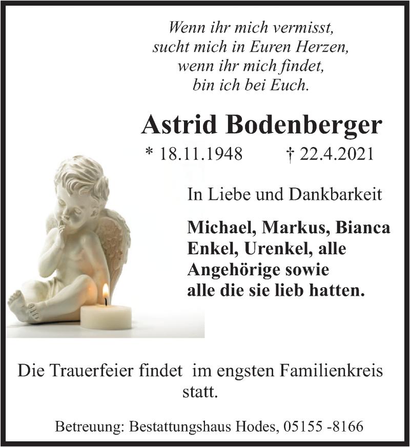 Traueranzeige für Astrid Bodenberger vom 30.04.2021 aus Deister- und Weserzeitung