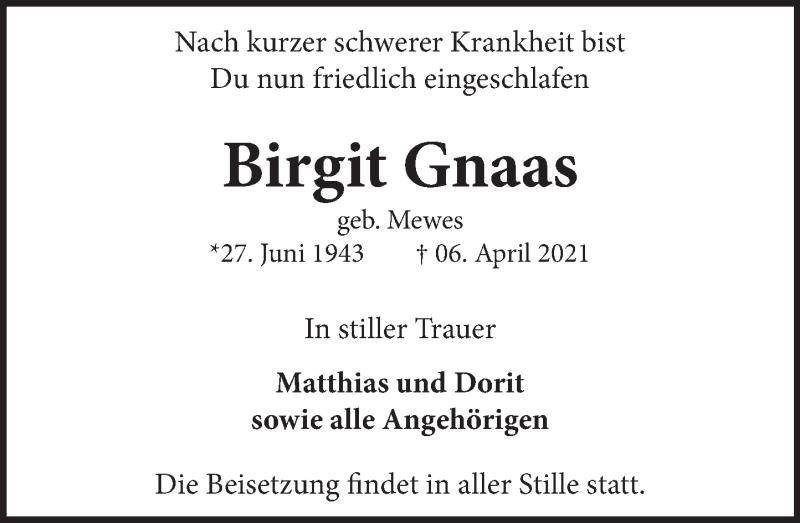 Traueranzeige für Birgit Gnaas vom 17.04.2021 aus Neue Deister-Zeitung