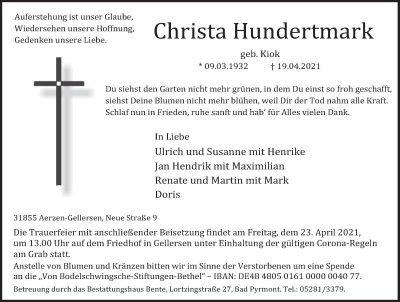 Traueranzeige für Christa Hundertmark vom 21.04.2021 aus Deister- und Weserzeitung