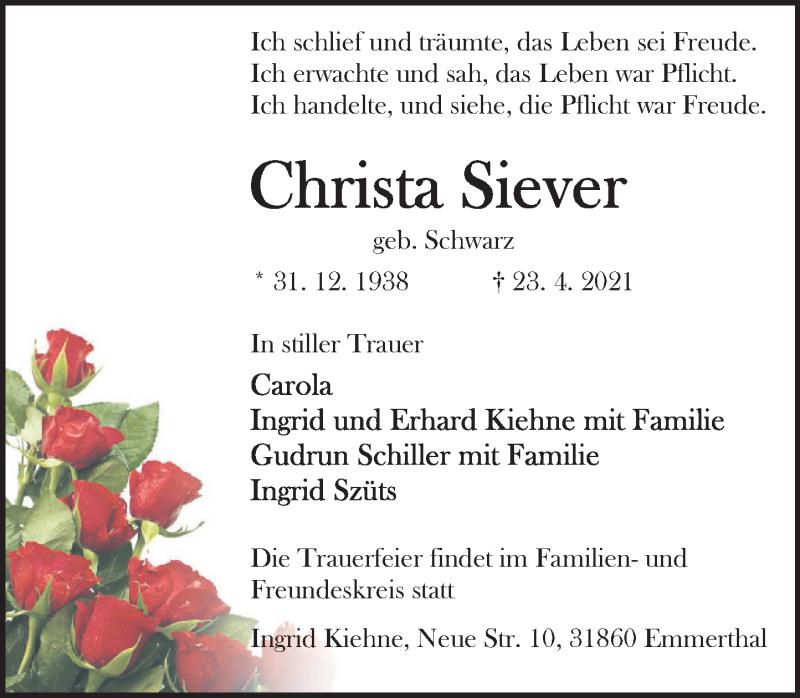 Traueranzeige für Christa Siever vom 30.04.2021 aus Deister- und Weserzeitung