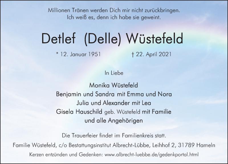 Traueranzeige für Detlef Wüstefeld vom 30.04.2021 aus Deister- und Weserzeitung