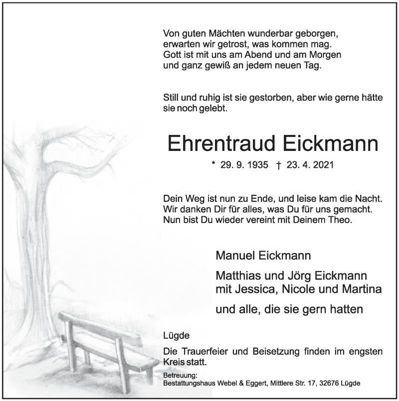 Traueranzeige für Ehrentraud Eickmann vom 30.04.2021 aus Deister- und Weserzeitung