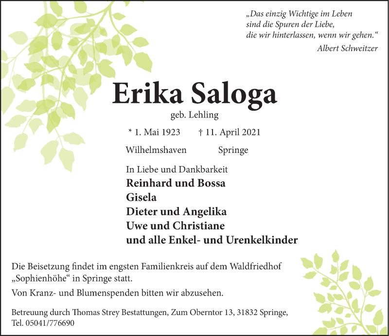 Traueranzeige für Erika Saloga vom 17.04.2021 aus Neue Deister-Zeitung