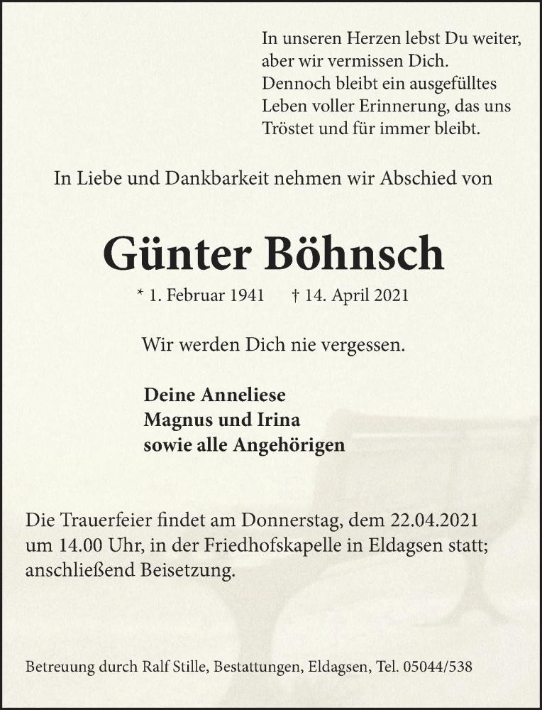 Traueranzeige für Günter Böhnsch vom 17.04.2021 aus Neue Deister-Zeitung