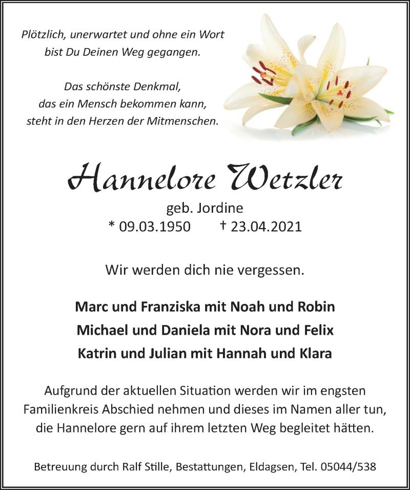 Traueranzeige für Hannelore Wetzler vom 28.04.2021 aus Neue Deister-Zeitung