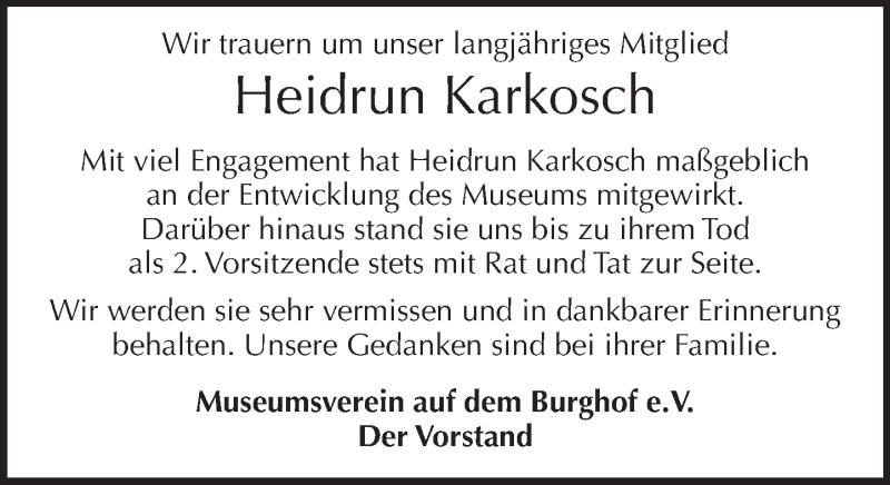 Traueranzeige für Heidrun Karkosch vom 17.04.2021 aus Neue Deister-Zeitung