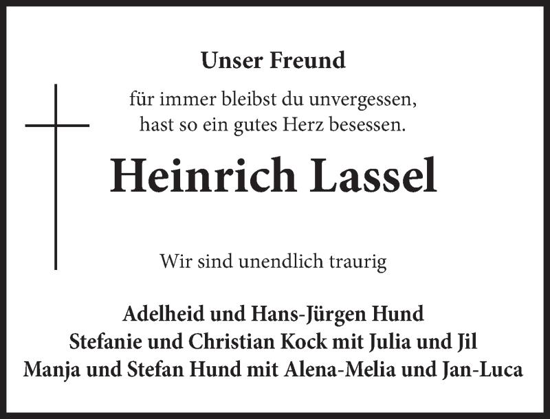 Traueranzeige für Heinrich Lassel vom 30.04.2021 aus Deister- und Weserzeitung