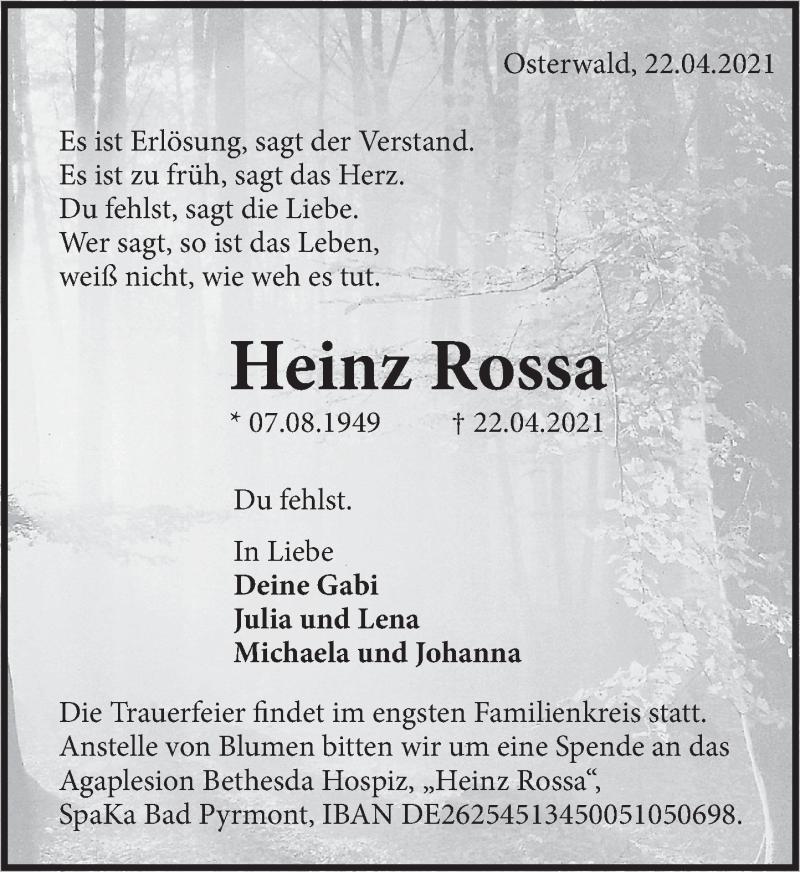 Traueranzeige für Heinz Rossa vom 30.04.2021 aus Deister- und Weserzeitung