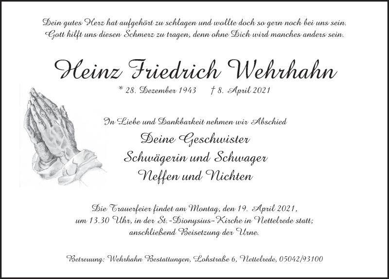 Traueranzeige für Heinz Friedrich Wehrhahn vom 17.04.2021 aus Neue Deister-Zeitung