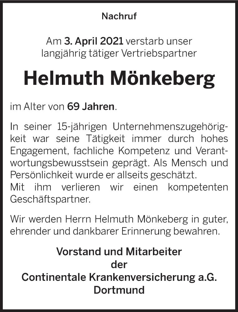 Traueranzeige für Helmut Mönkeberg vom 17.04.2021 aus Deister- und Weserzeitung