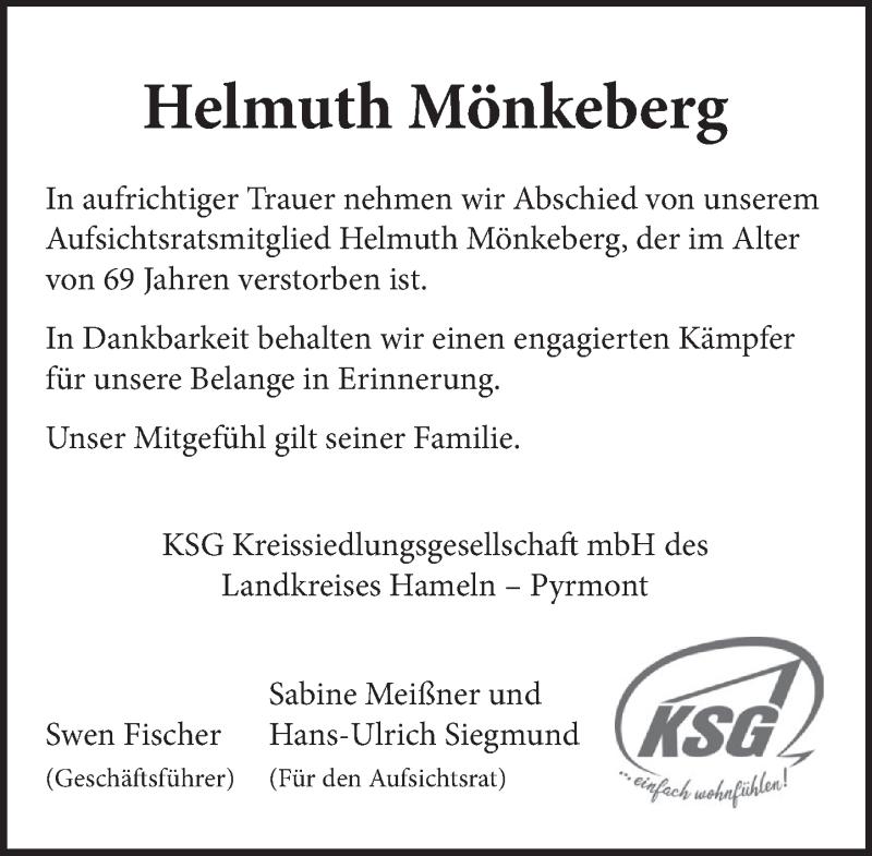 Traueranzeige für Helmuth Mönkeberg vom 17.04.2021 aus Deister- und Weserzeitung