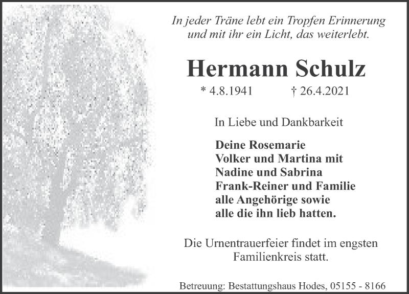 Traueranzeige für Hermann Schulz vom 30.04.2021 aus Deister- und Weserzeitung