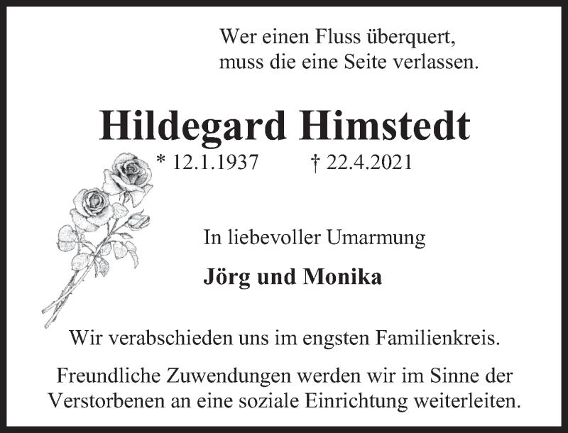 Traueranzeige für Hildegard Himstedt vom 30.04.2021 aus Deister- und Weserzeitung
